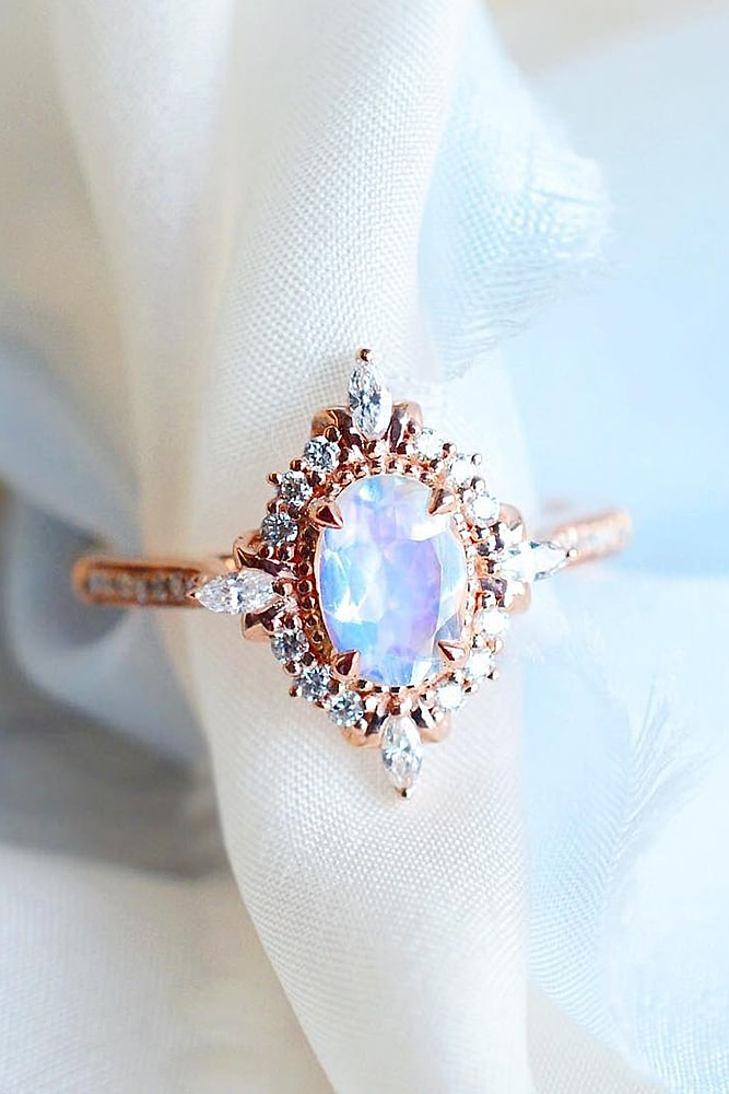 oval engagement rings unique rose gold ring